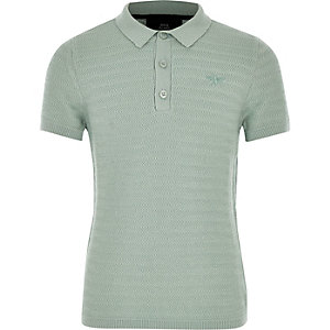 Boys green textured polo shirt