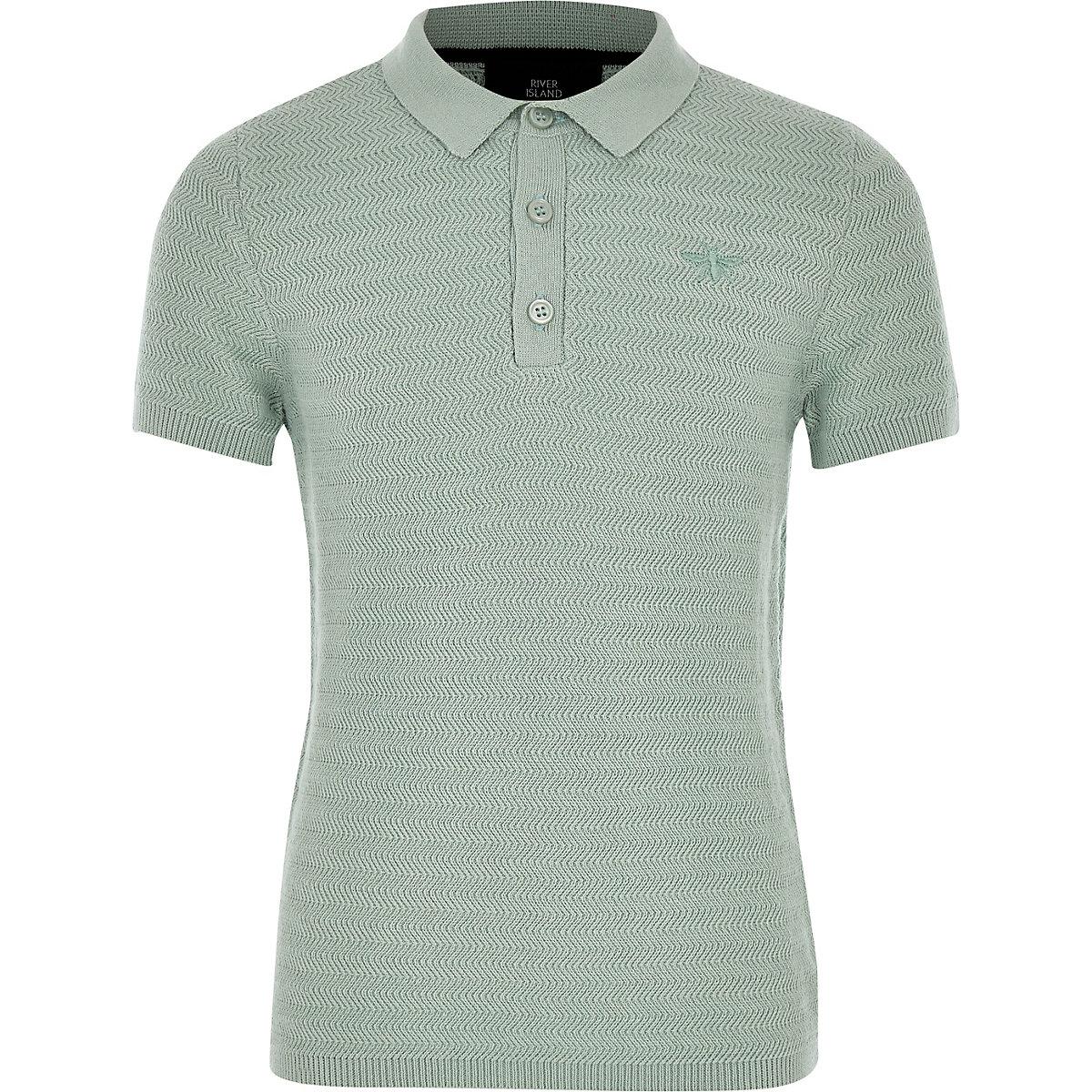 Boys Green Textured Polo Shirt Polo Shirts Boys
