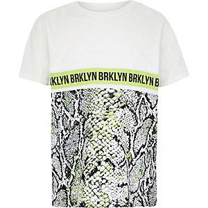 Wit T-shirt met slangenprint voor jongens
