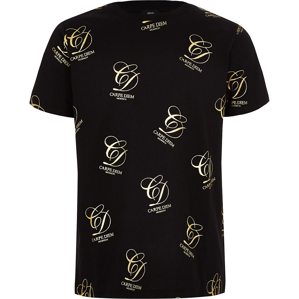 Boys black 'Carpe diem' gold foil T-shirt