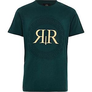 T-shirt vert à imprimé RI métallisé pour garçon