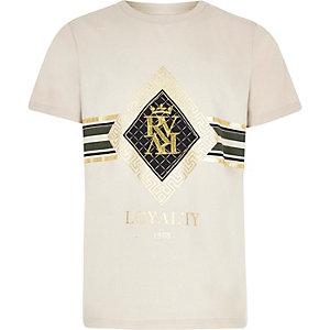 Kiezelkleurig T-shirt met RI-borduursel voor jongens