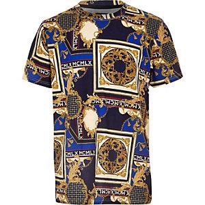 Mariuneblauw T-shirt met barokke print voor jongens