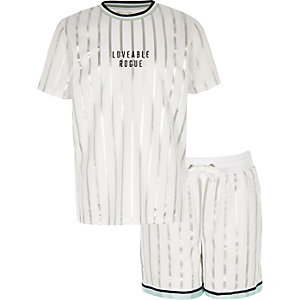 Boys white stripe mesh short outfit