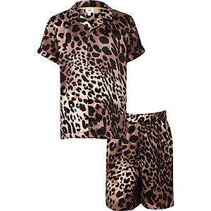 Kids brown leopard print pyjama set