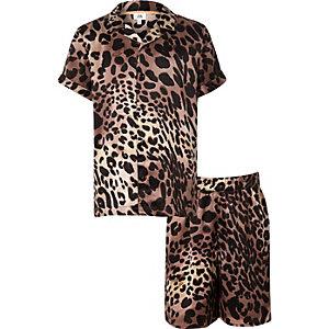 Bruine pyjamaset met luipaardprint voor kinderen