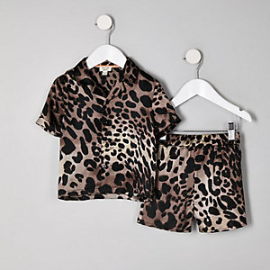 Pyjama imprimé léopard marron mini enfant