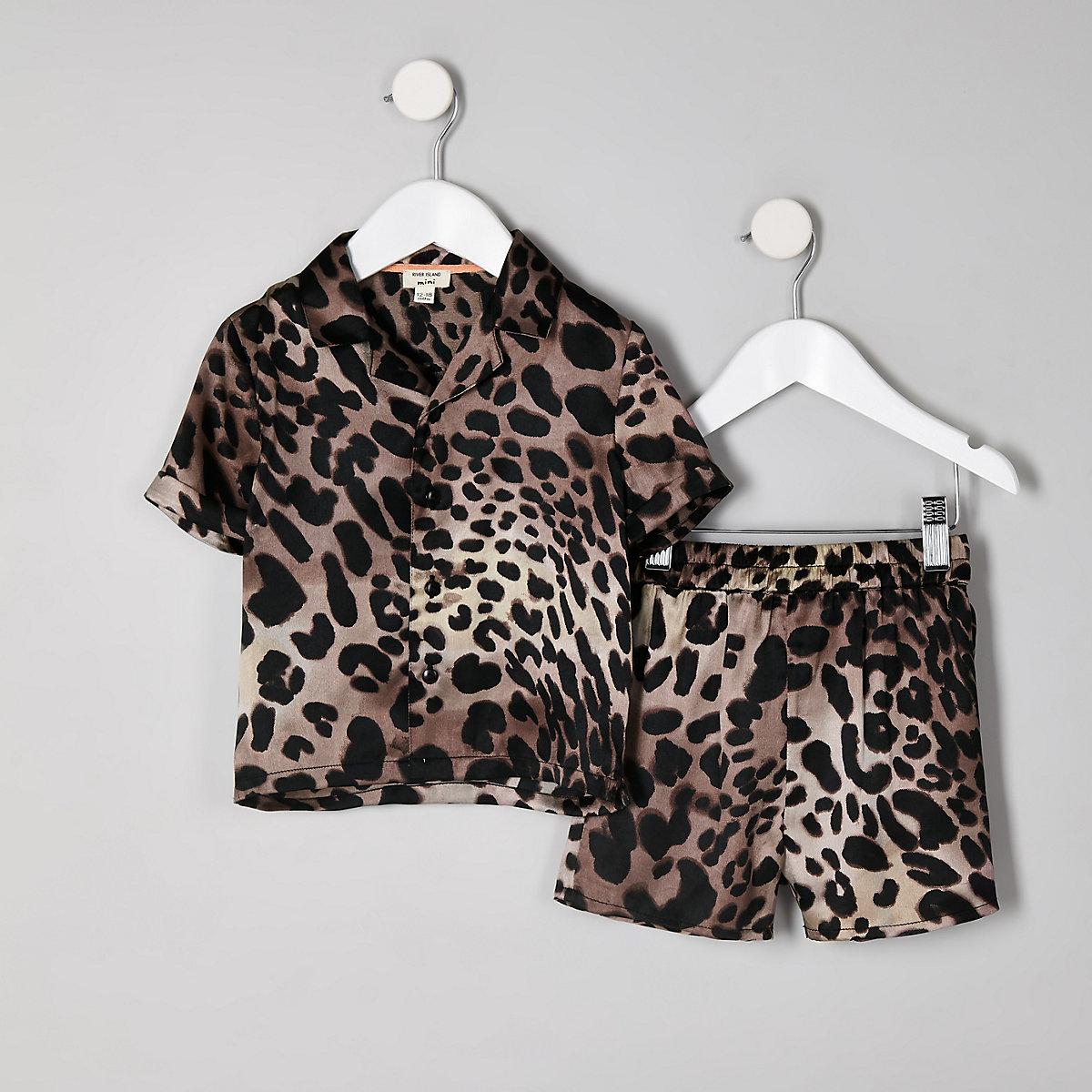 Mini kids brown leopard print pyjama set