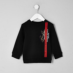 Mini - Zwart sweatshirt met 'Brooklyn'-print en bies voor jongens