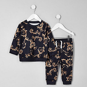 Mini boys navy baroque sweatshirt set