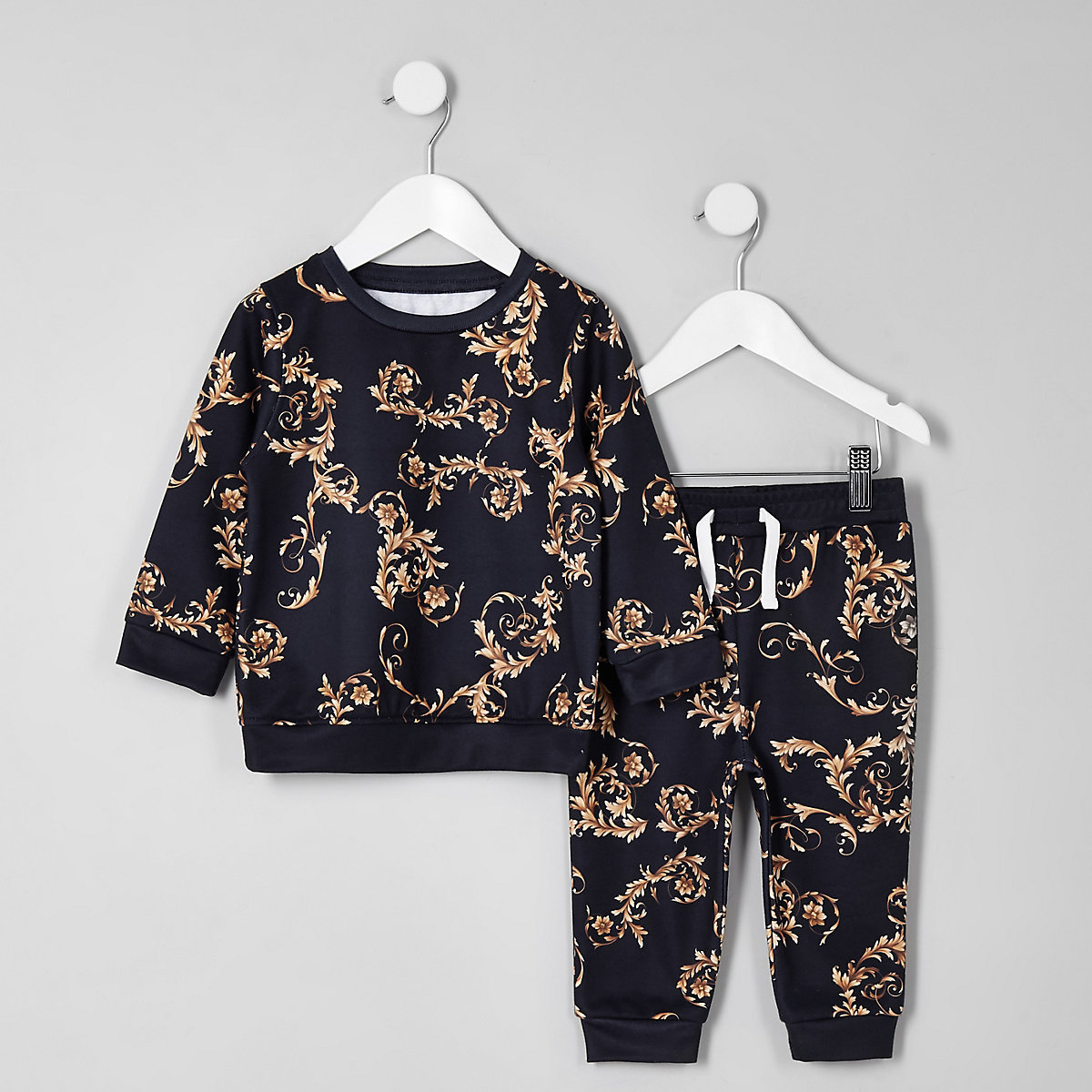 Mini boys navy baroque sweatshirt set