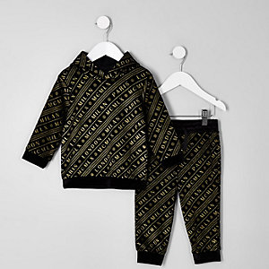 Mini boys black velour joggers outfit