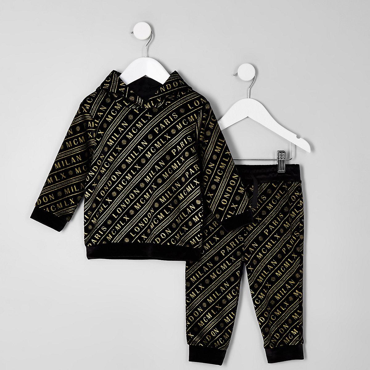 Mini boys black velour joggers outfit