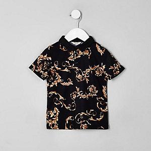 Mini - Zwart poloshirt met barokprint voor jongens