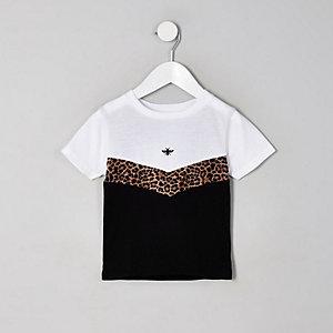 Mini - Wit T-shirt met luipaardprint en zigzagmotief voor jongens