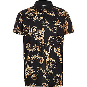 Schwarzes Polohemd mit Barock-Print