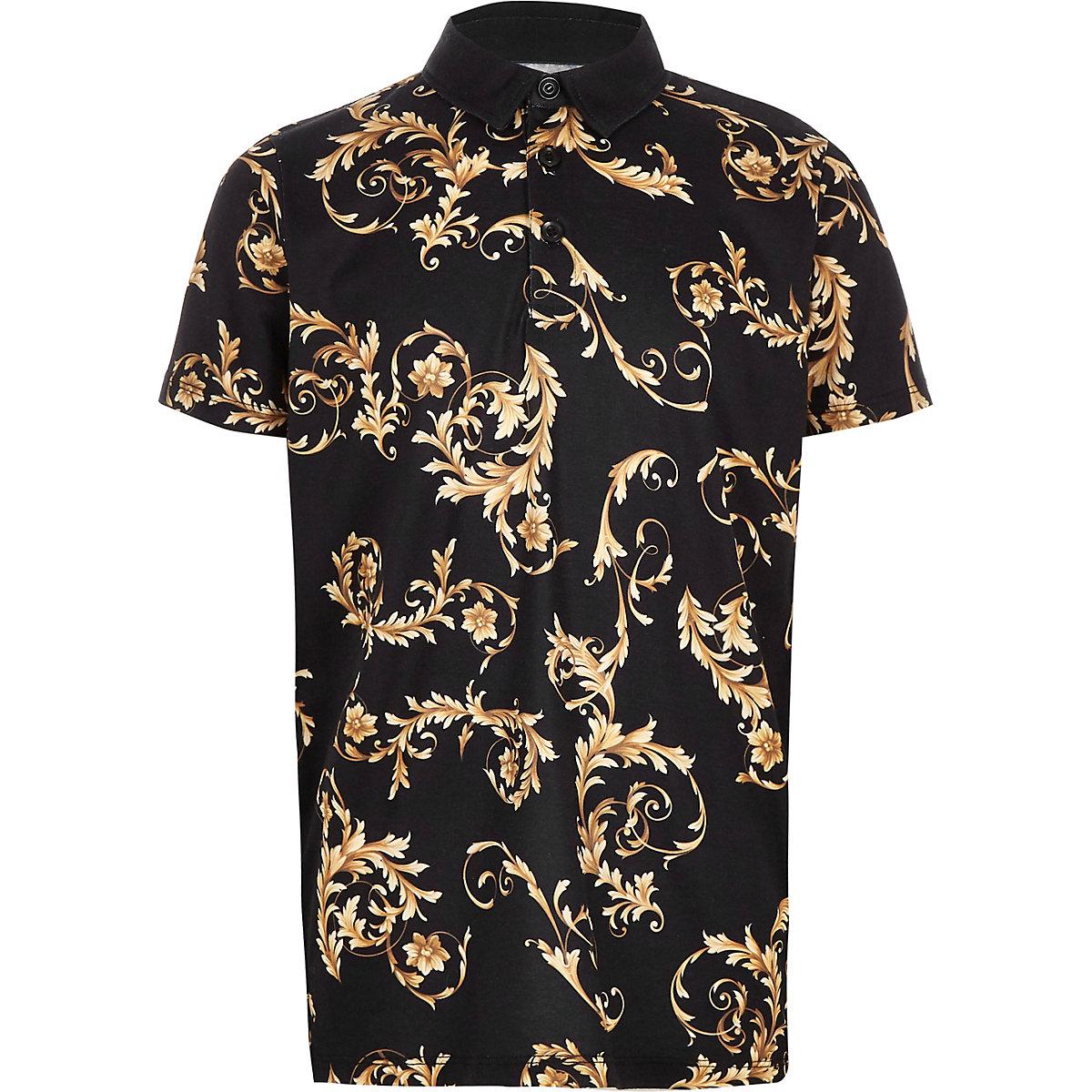 Boys black baroque print polo shirt