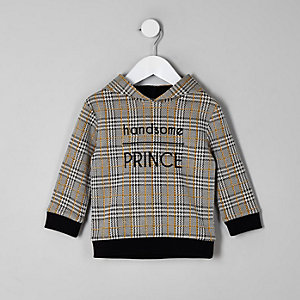Mini boys brown check hoodie