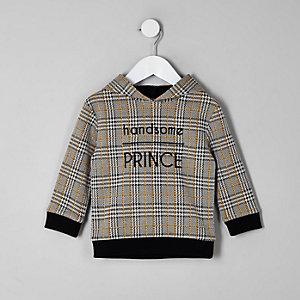 Mini - Bruine geruite hoodie voor jongens