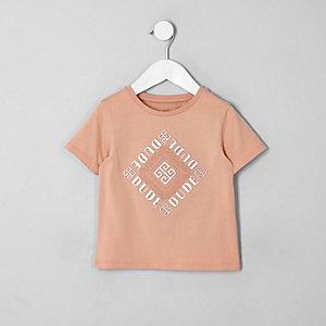 Mini - Kiezelkleurige T-shirt met folie en reliëf voor jongens