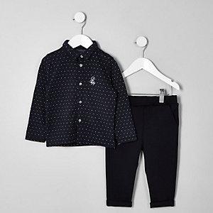 Outfit met marineblauw jacquard overhemd voor jongens