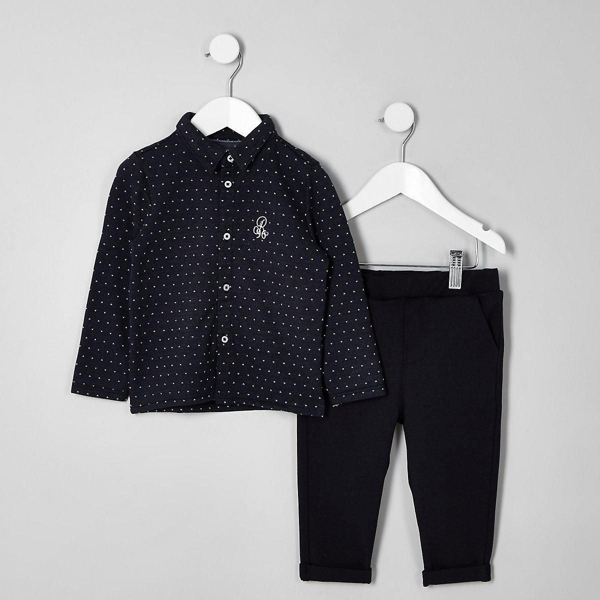Boys navy jacquard shirt outfit