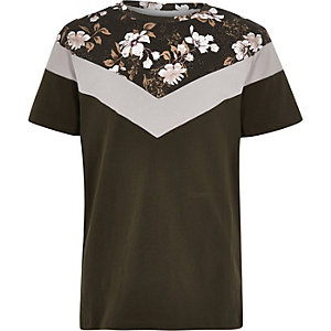 T-shirt kaki avec bloc vertical à fleurs pour garçon