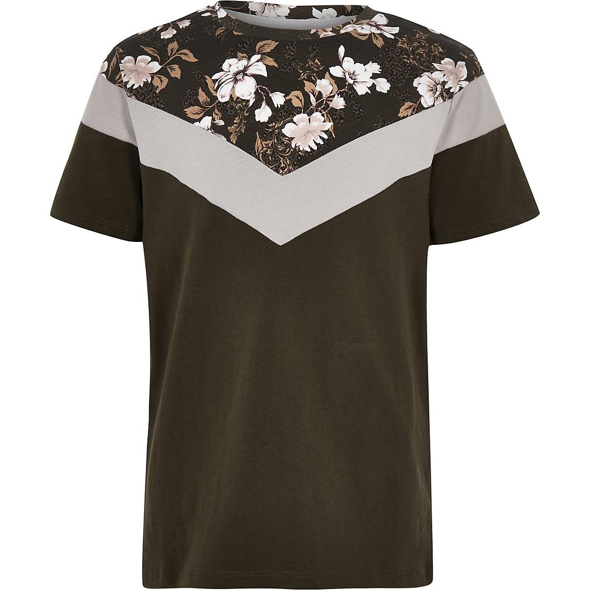 Boys khaki floral vertical block T-shirt