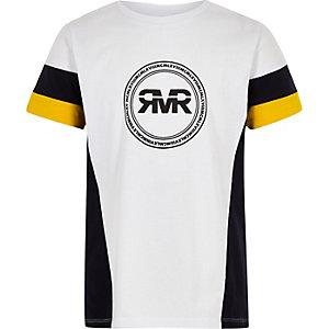 Boys yellow RI colour block sleeve T-shirt