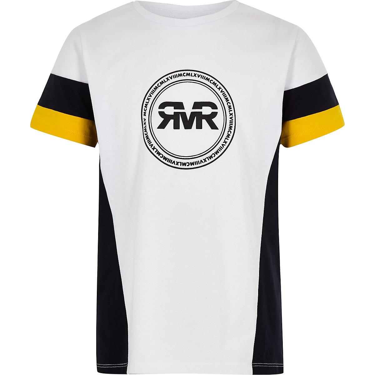 Boys yellow RI color block sleeve T-shirt
