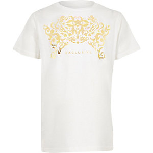 Boys white 'Exclusive' foil print T-shirt