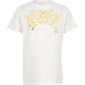 T-shirt à imprimé « Exclusive » métallisé blanc garçon
