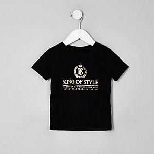 Mini boys black 'King of style' T-shirt