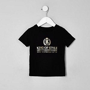 T-shirt « King of style » noir pour mini garçon