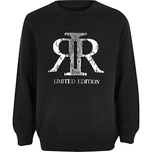 Boys black RI foil logo sweatshirt