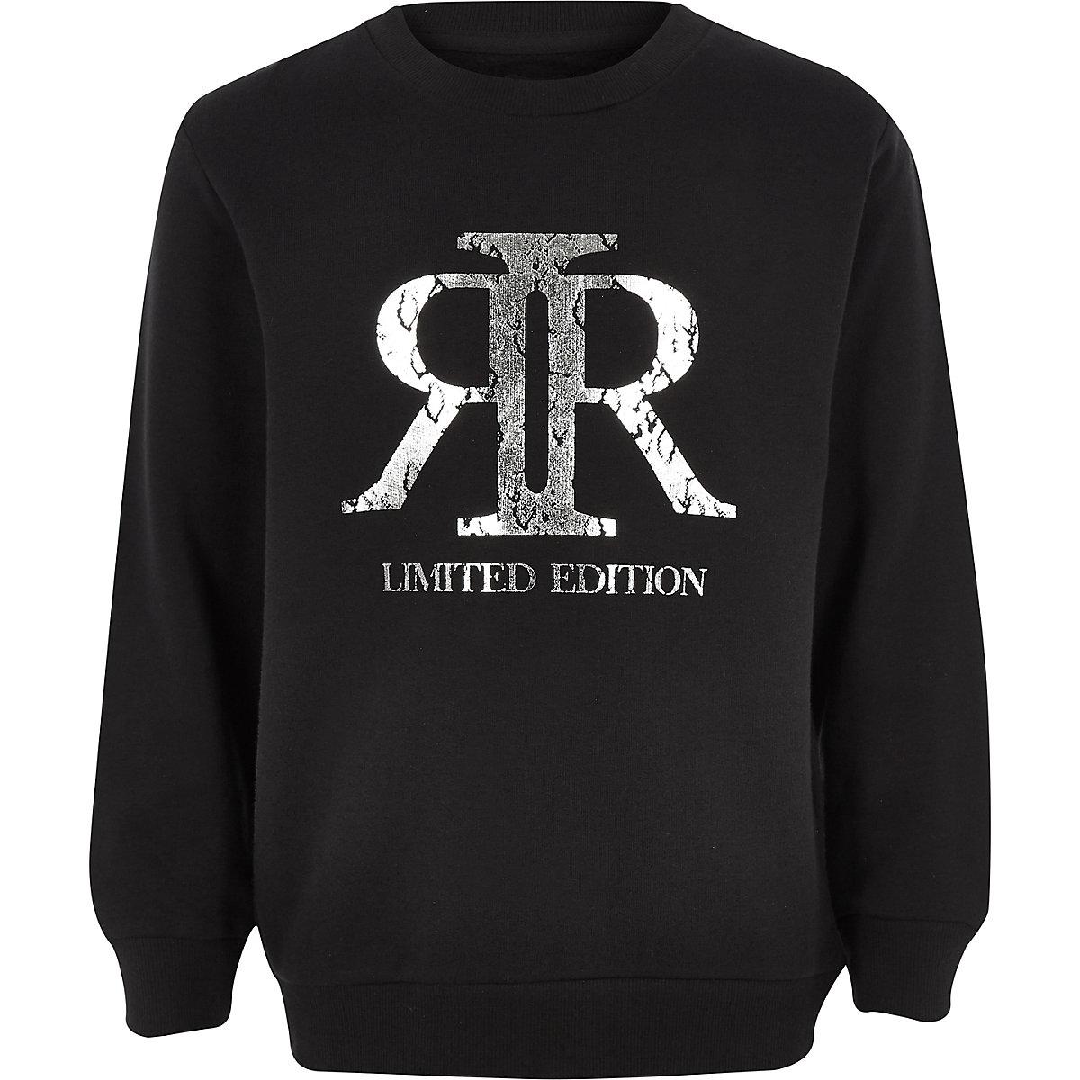 Boys black RI foil logo sweatshirt