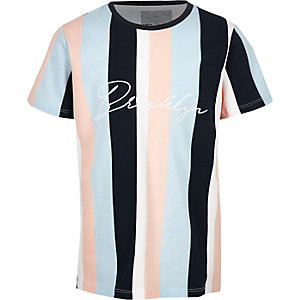 T-shirt «Brooklyn» rayé bleu pour garçon