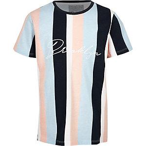 Blauw gestreept T-shirt met 'Brooklyn'-print voor jongens