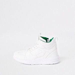 Boys white chunky hi top trainers