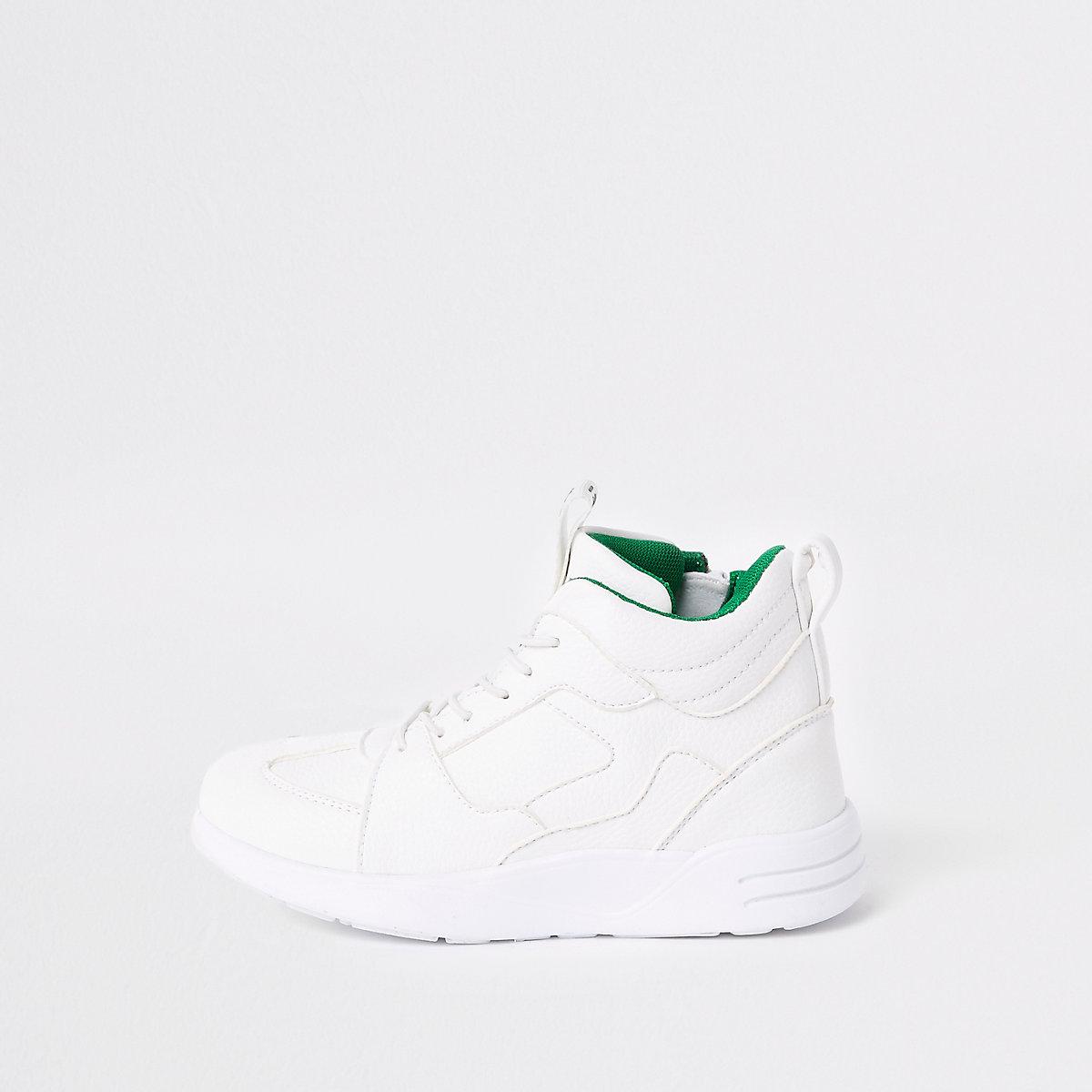 Boys white chunky hi top sneakers
