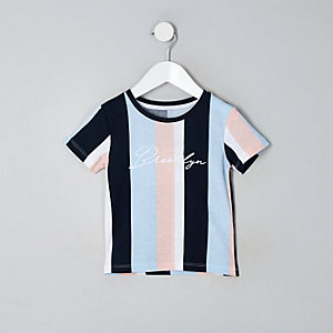 T-shirt «Brooklyn» rayé bleu mini garçon