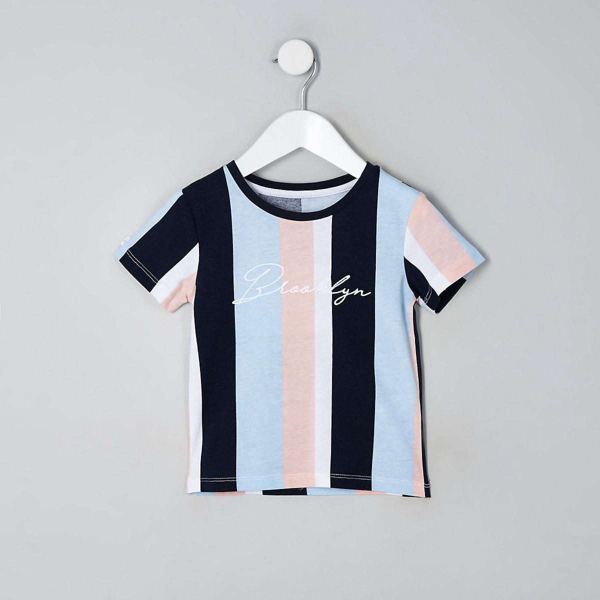 Mini boys blue stripe 'Brooklyn' T-shirt