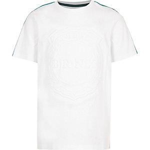 Wit T-shirt met 'Brnx'-print en bies voor jongens