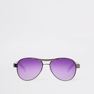 Boys grey aviator purple lens sunglasses