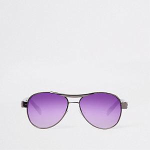 Grijze pilotenzonnebril met paarse glazen voor jongens