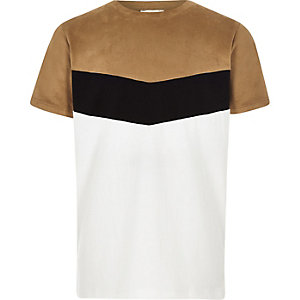Boys brown chevron colour block T-shirt
