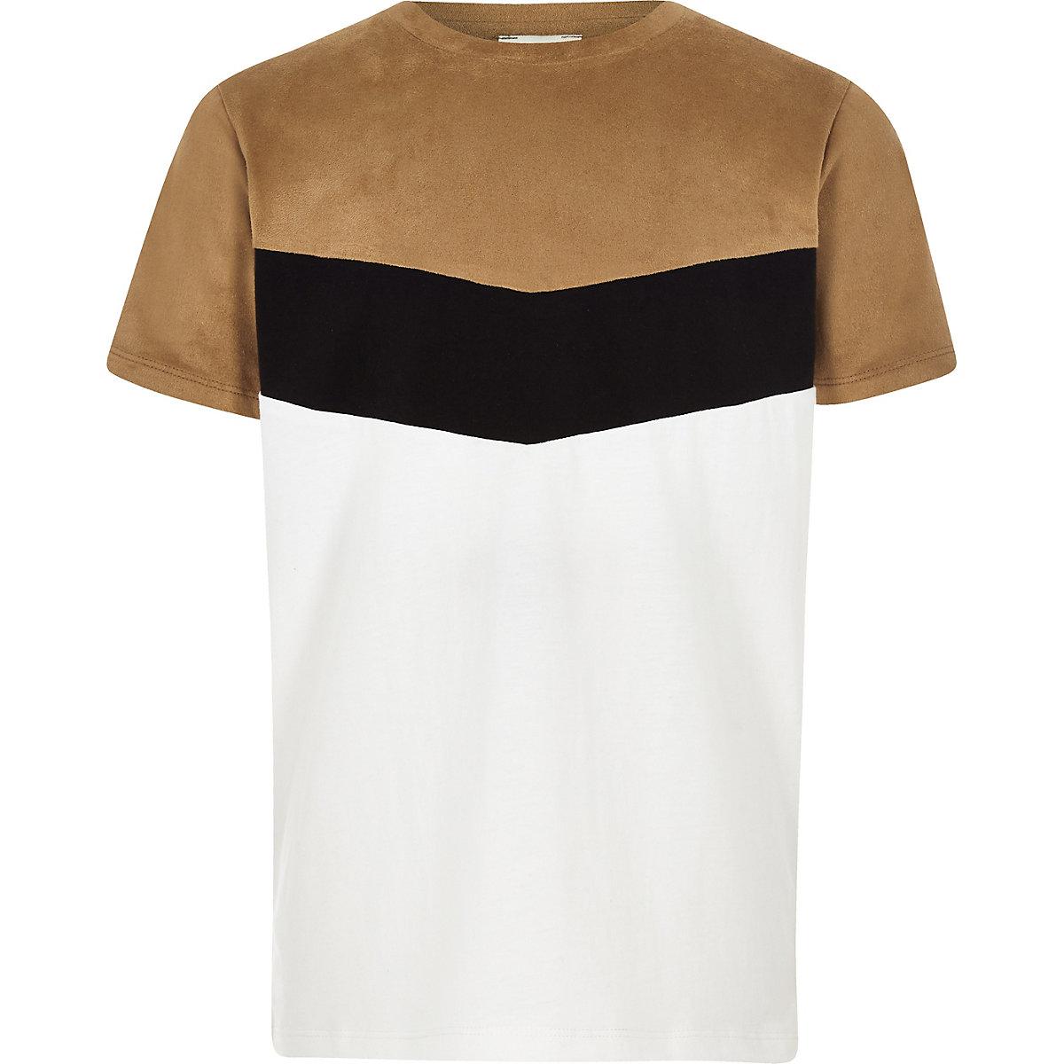 Boys brown chevron colour block T-shirt