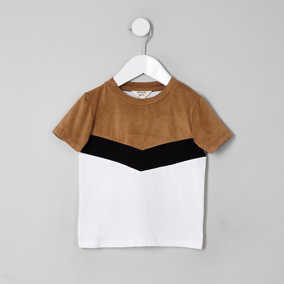 Mini boys brown chevron color block T-shirt