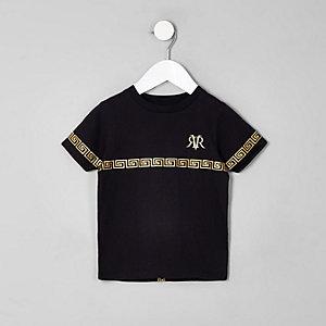 T-shirt noir avec bandes et logo mini garçon