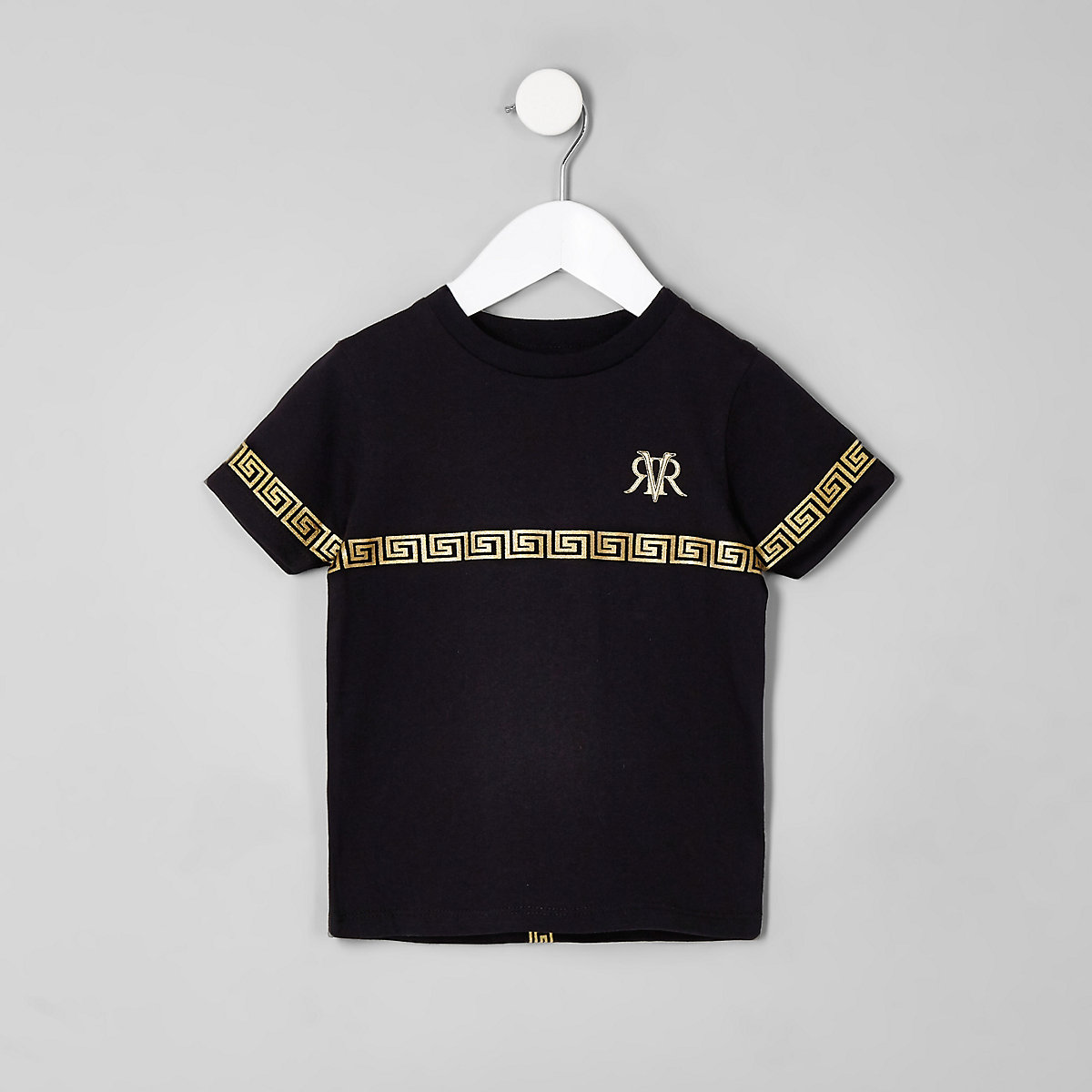 Mini boys black RI tape T-shirt